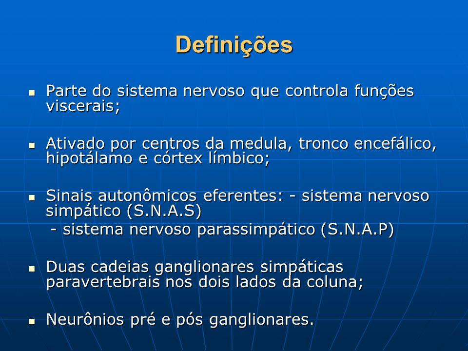 Definições Parte do sistema nervoso que controla funções viscerais; Parte do sistema nervoso que controla funções viscerais; Ativado por centros da me