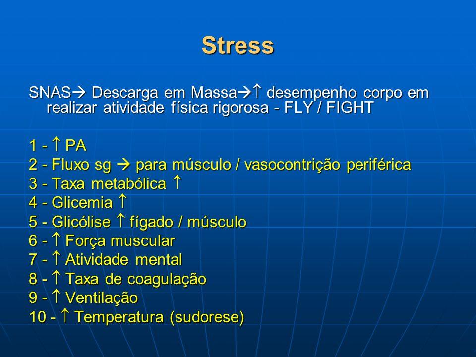 Stress SNAS Descarga em Massa desempenho corpo em realizar atividade física rigorosa - FLY / FIGHT 1 - PA 2 - Fluxo sg para músculo / vasocontrição pe