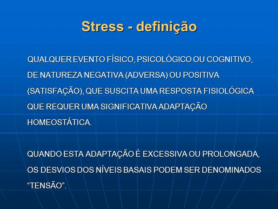 Stress - definição QUALQUER EVENTO FÍSICO, PSICOLÓGICO OU COGNITIVO, DE NATUREZA NEGATIVA (ADVERSA) OU POSITIVA (SATISFAÇÃO), QUE SUSCITA UMA RESPOSTA