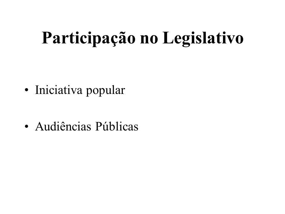 Participação no Legislativo Iniciativa popular Audiências Públicas