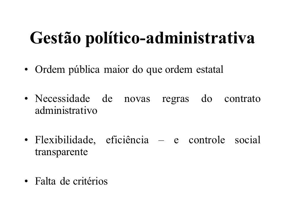 Gestão político-administrativa Ordem pública maior do que ordem estatal Necessidade de novas regras do contrato administrativo Flexibilidade, eficiênc