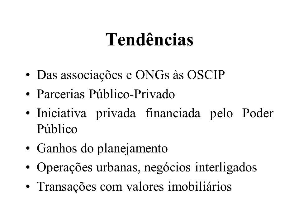 Tendências Das associações e ONGs às OSCIP Parcerias Público-Privado Iniciativa privada financiada pelo Poder Público Ganhos do planejamento Operações