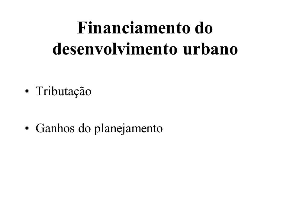 Financiamento do desenvolvimento urbano Tributação Ganhos do planejamento