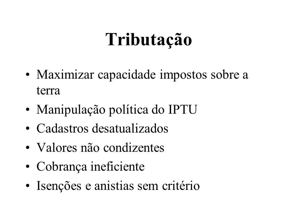 Tributação Maximizar capacidade impostos sobre a terra Manipulação política do IPTU Cadastros desatualizados Valores não condizentes Cobrança ineficie