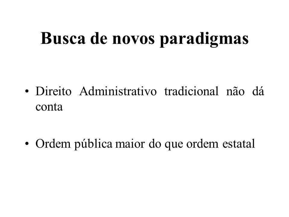 Busca de novos paradigmas Direito Administrativo tradicional não dá conta Ordem pública maior do que ordem estatal