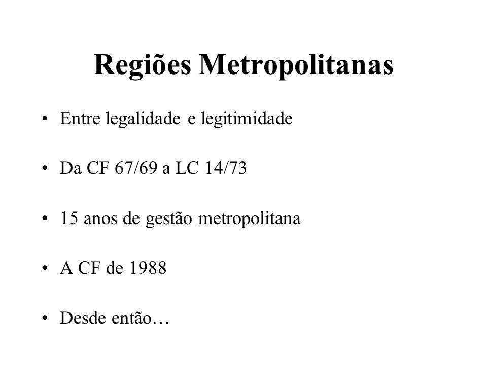 Regiões Metropolitanas Entre legalidade e legitimidade Da CF 67/69 a LC 14/73 15 anos de gestão metropolitana A CF de 1988 Desde então…