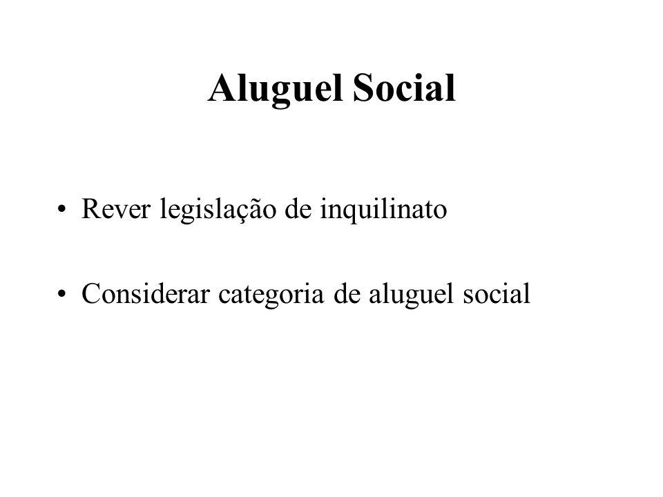 Aluguel Social Rever legislação de inquilinato Considerar categoria de aluguel social
