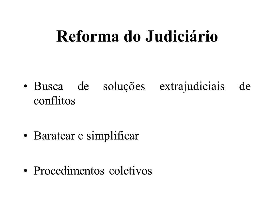 Reforma do Judiciário Busca de soluções extrajudiciais de conflitos Baratear e simplificar Procedimentos coletivos