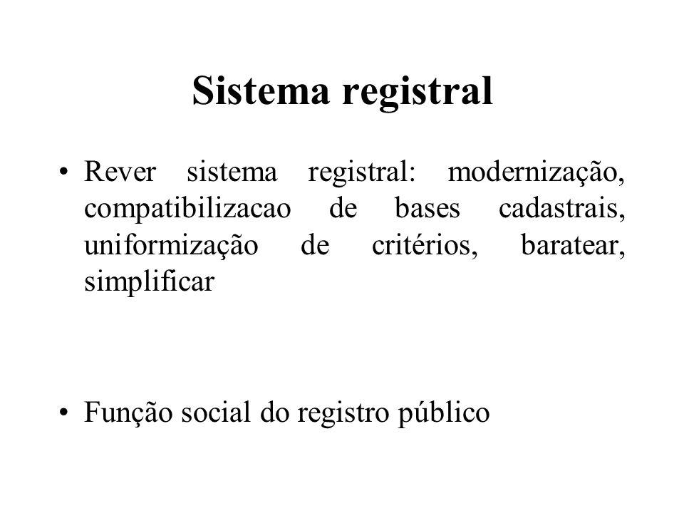 Sistema registral Rever sistema registral: modernização, compatibilizacao de bases cadastrais, uniformização de critérios, baratear, simplificar Funçã