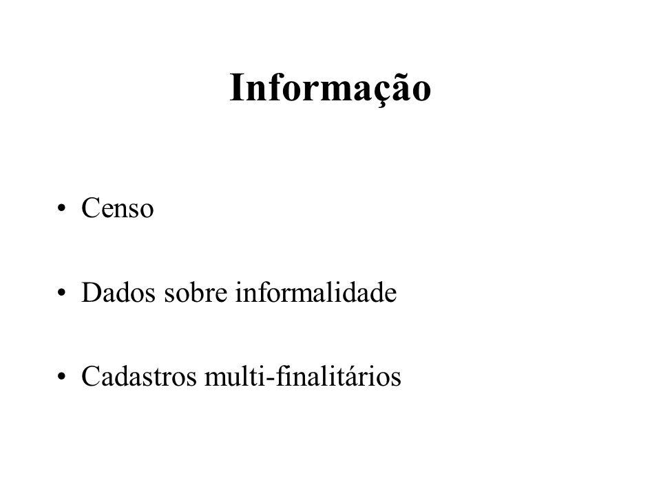 Informação Censo Dados sobre informalidade Cadastros multi-finalitários
