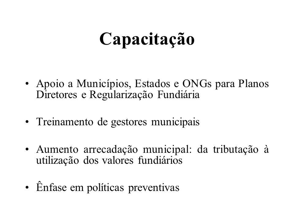 Capacitação Apoio a Municípios, Estados e ONGs para Planos Diretores e Regularização Fundiária Treinamento de gestores municipais Aumento arrecadação