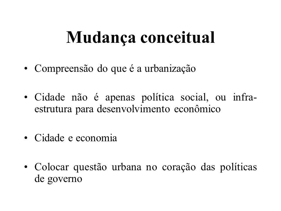 Mudança conceitual Compreensão do que é a urbanização Cidade não é apenas política social, ou infra- estrutura para desenvolvimento econômico Cidade e