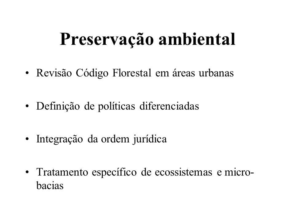 Preservação ambiental Revisão Código Florestal em áreas urbanas Definição de políticas diferenciadas Integração da ordem jurídica Tratamento específic