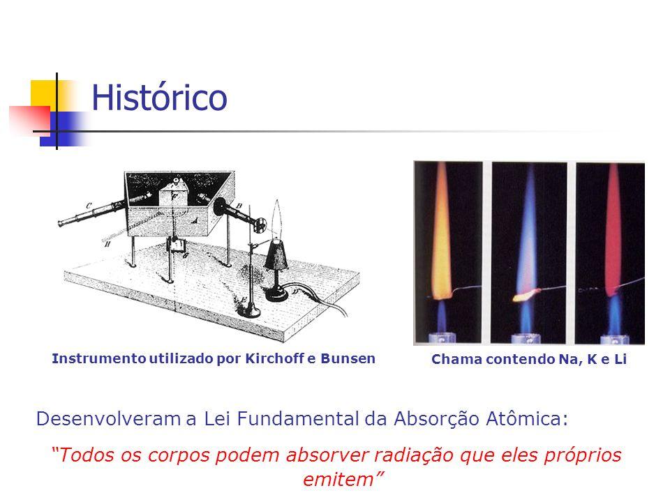 Histórico Desenvolveram a Lei Fundamental da Absorção Atômica: Todos os corpos podem absorver radiação que eles próprios emitem Instrumento utilizado