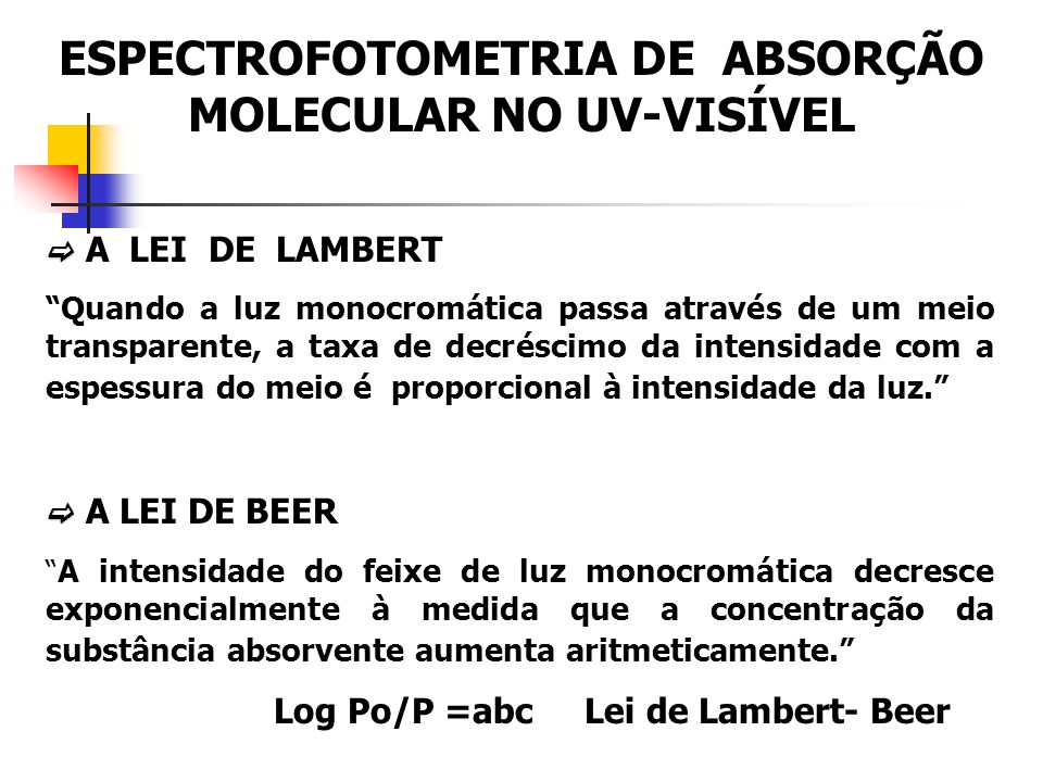 A LEI DE LAMBERT Quando a luz monocromática passa através de um meio transparente, a taxa de decréscimo da intensidade com a espessura do meio é proporcional à intensidade da luz.