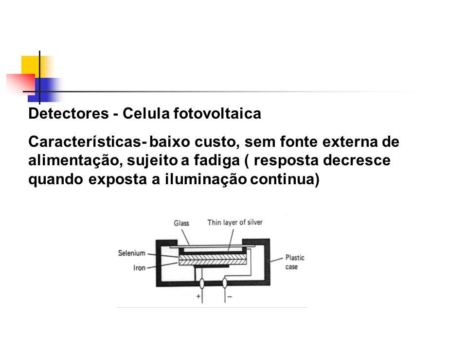 Detectores - Celula fotovoltaica Características- baixo custo, sem fonte externa de alimentação, sujeito a fadiga ( resposta decresce quando exposta a iluminação continua)