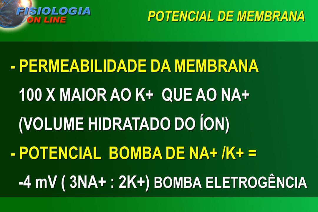 POTENCIAL DE MEMBRANA - POTENCIAL DE DIFUSÃO DO K+ = 35 : 1 = 1.54 X –61 = -94 mV - POTENCIAL DE DIFUSÃO DO NA+ = 14 : 140 LOG 0.1 = -1 X –61 = +61 mV