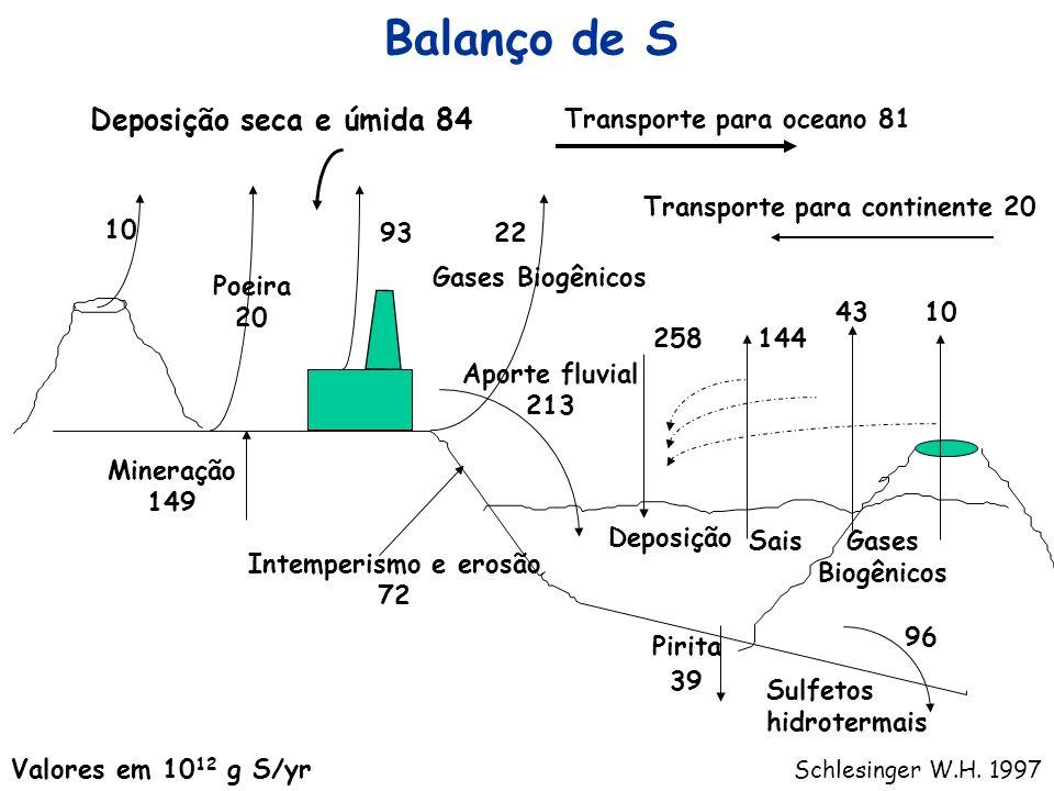 10 Poeira 20 93 22 Gases Biogênicos Transporte para oceano 81 Aporte fluvial 213 Intemperismo e erosão 72 Mineração 149 10 Pirita 39 Sulfetos hidroter