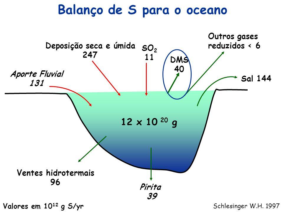 Balanço de S para o oceano Pirita 39 Ventes hidrotermais 96 Aporte Fluvial 131 Deposição seca e úmida 247 SO 2 11 DMS 40 Outros gases reduzidos < 6 Sa