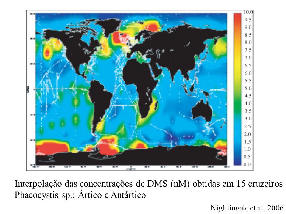 Interpolação das concentrações de DMS (nM) obtidas em 15 cruzeiros Phaeocystis sp.: Ártico e Antártico Nightingale et al, 2006