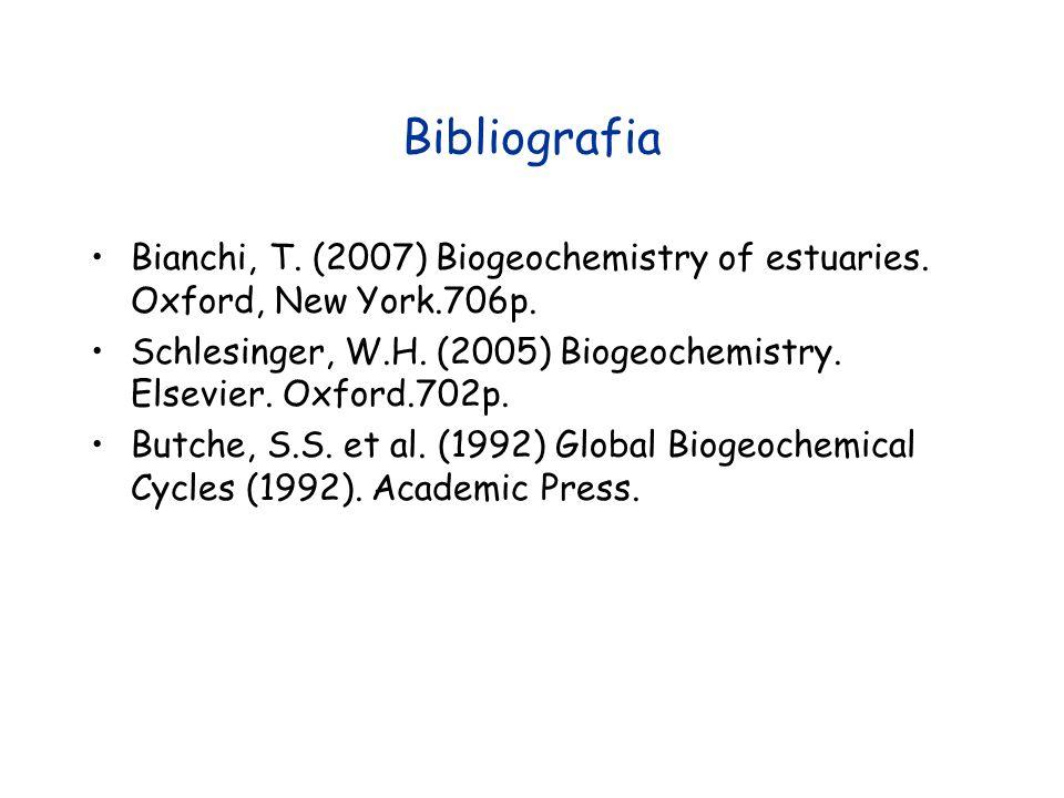 Bibliografia Bianchi, T. (2007) Biogeochemistry of estuaries. Oxford, New York.706p. Schlesinger, W.H. (2005) Biogeochemistry. Elsevier. Oxford.702p.