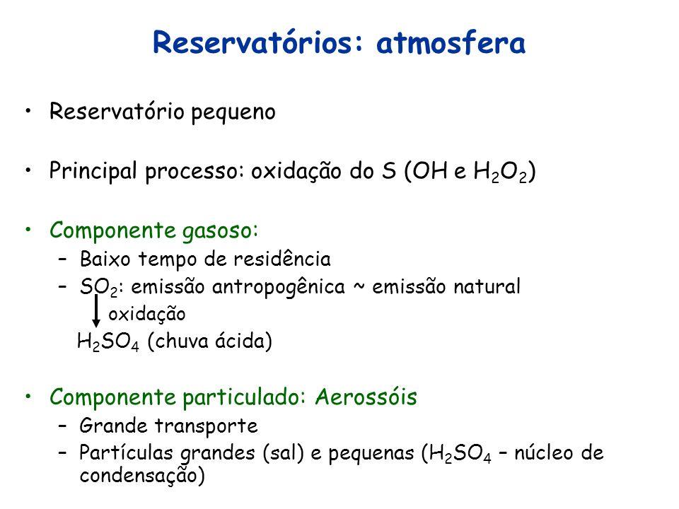Reservatórios: atmosfera Reservatório pequeno Principal processo: oxidação do S (OH e H 2 O 2 ) Componente gasoso: –Baixo tempo de residência –SO 2 :