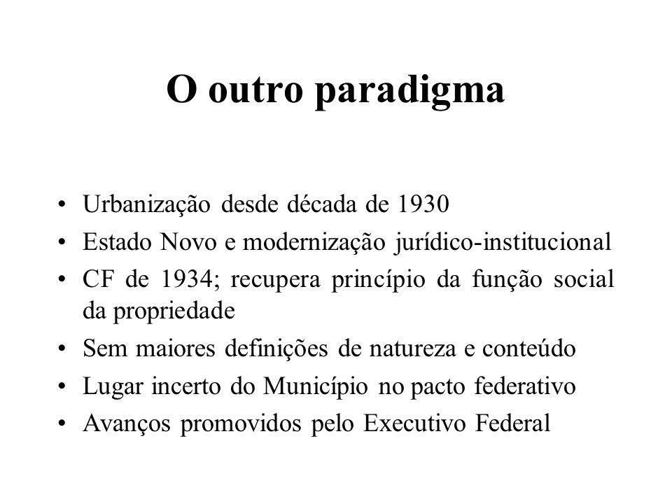 O outro paradigma Urbanização desde década de 1930 Estado Novo e modernização jurídico-institucional CF de 1934; recupera princípio da função social da propriedade Sem maiores definições de natureza e conteúdo Lugar incerto do Município no pacto federativo Avanços promovidos pelo Executivo Federal