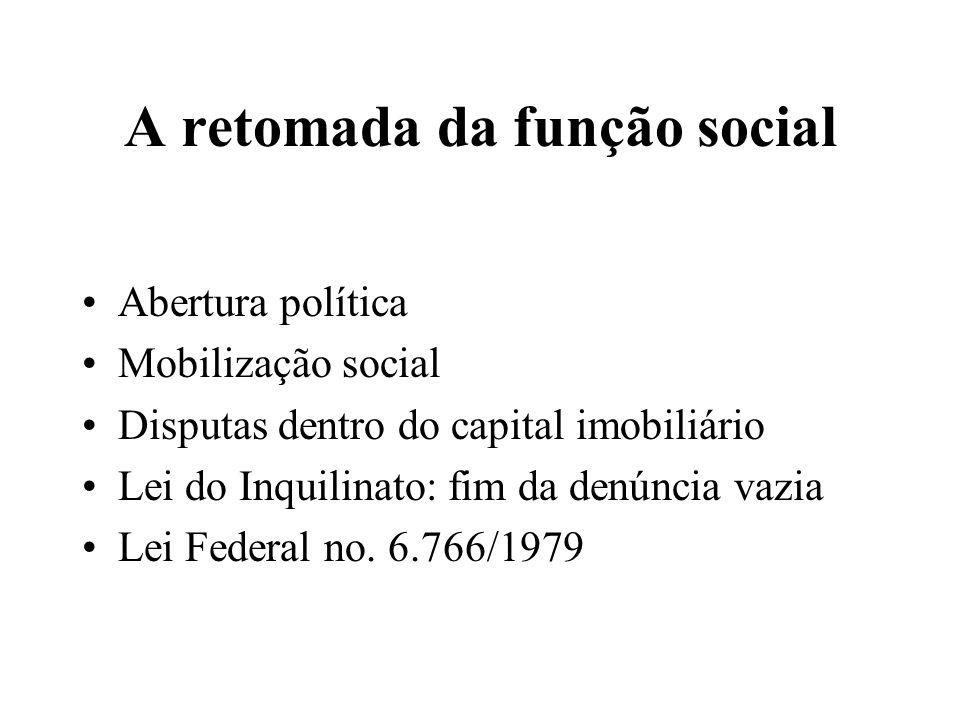 A retomada da função social Abertura política Mobilização social Disputas dentro do capital imobiliário Lei do Inquilinato: fim da denúncia vazia Lei Federal no.