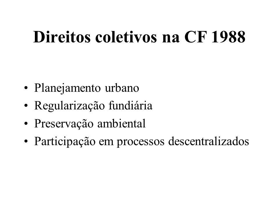 Direitos coletivos na CF 1988 Planejamento urbano Regularização fundiária Preservação ambiental Participação em processos descentralizados