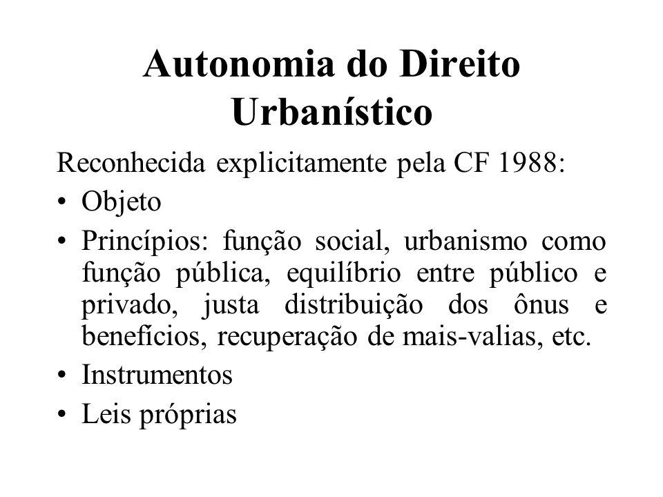 Autonomia do Direito Urbanístico Reconhecida explicitamente pela CF 1988: Objeto Princípios: função social, urbanismo como função pública, equilíbrio entre público e privado, justa distribuição dos ônus e benefícios, recuperação de mais-valias, etc.