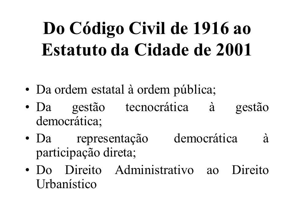 Do Código Civil de 1916 ao Estatuto da Cidade de 2001 Da ordem estatal à ordem pública; Da gestão tecnocrática à gestão democrática; Da representação democrática à participação direta; Do Direito Administrativo ao Direito Urbanístico