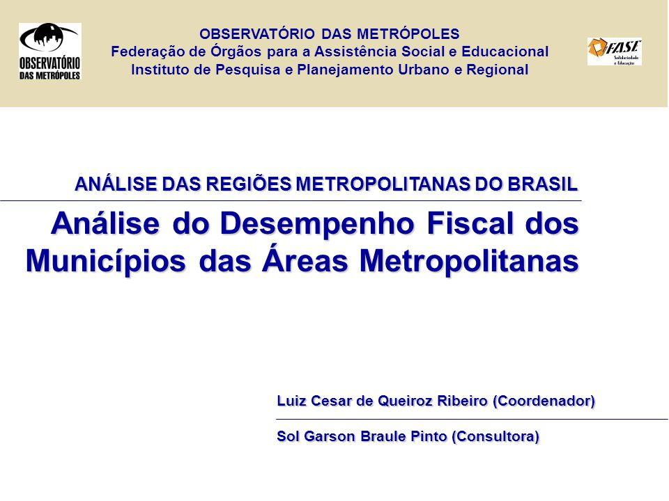 Cidades Metropolitanas: perfil da receita per capita Calculou-se a composição da Receita Fiscal Líquida (R6), de forma a comparar cidades dentro de uma mesma região metropolitana e entre regiões, tomando as seguintes categorias: R1=Arrecadação Municipal, compreendendo Receita Tributária Própria e Receita da Dívida Ativa R2=R1 + Devolução Tributária R3=R2 + Transferências Redistributivas não Vinculadas na Origem R4=R3 + Transferências Redistributivas Vinculadas na Origem R5=R4 + Transferências Discricionárias R6=R5 + Outras Receitas Primárias Líquidas