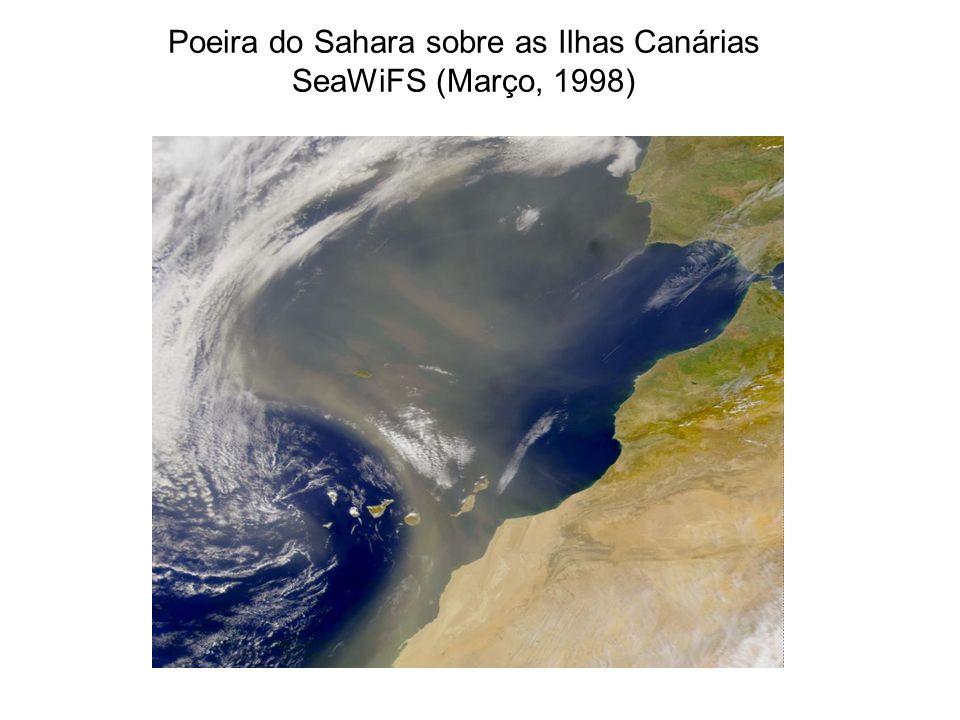 Poeira do Sahara sobre as Ilhas Canárias SeaWiFS (Março, 1998)