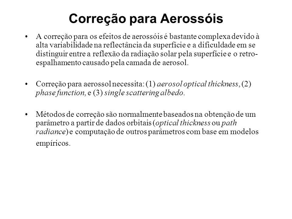 Correção para Aerossóis A correção para os efeitos de aerossóis é bastante complexa devido à alta variabilidade na reflectância da superfície e a difi