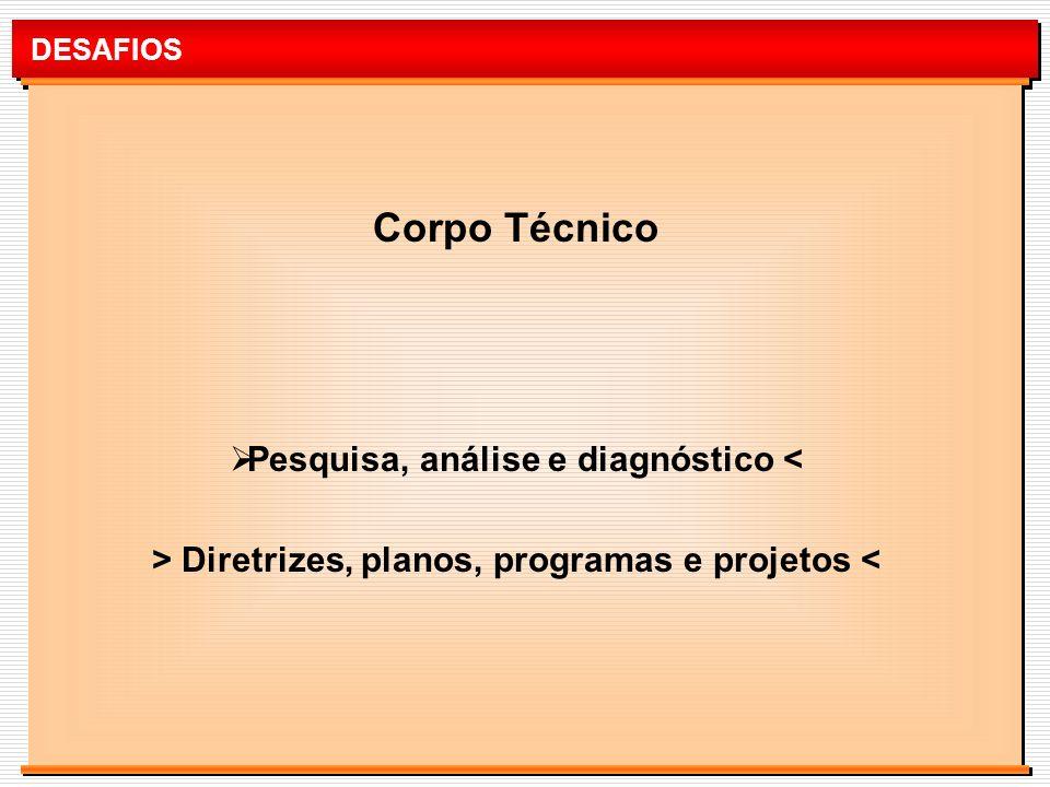 DESAFIOS Corpo Técnico Pesquisa, análise e diagnóstico < > Diretrizes, planos, programas e projetos <