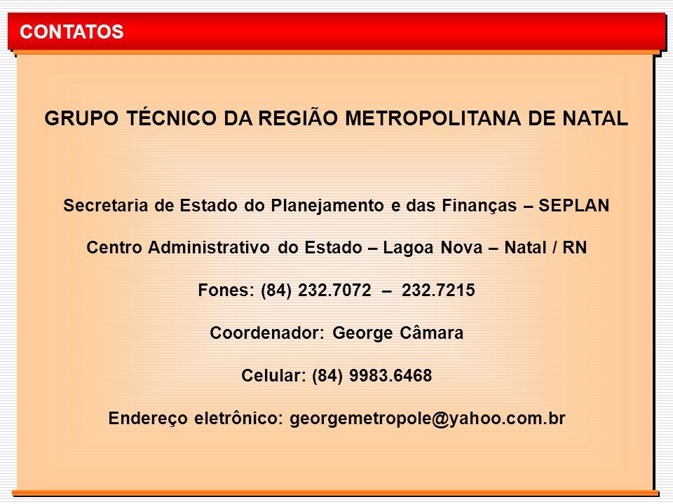 CONTATOS GRUPO TÉCNICO DA REGIÃO METROPOLITANA DE NATAL Secretaria de Estado do Planejamento e das Finanças – SEPLAN Centro Administrativo do Estado –