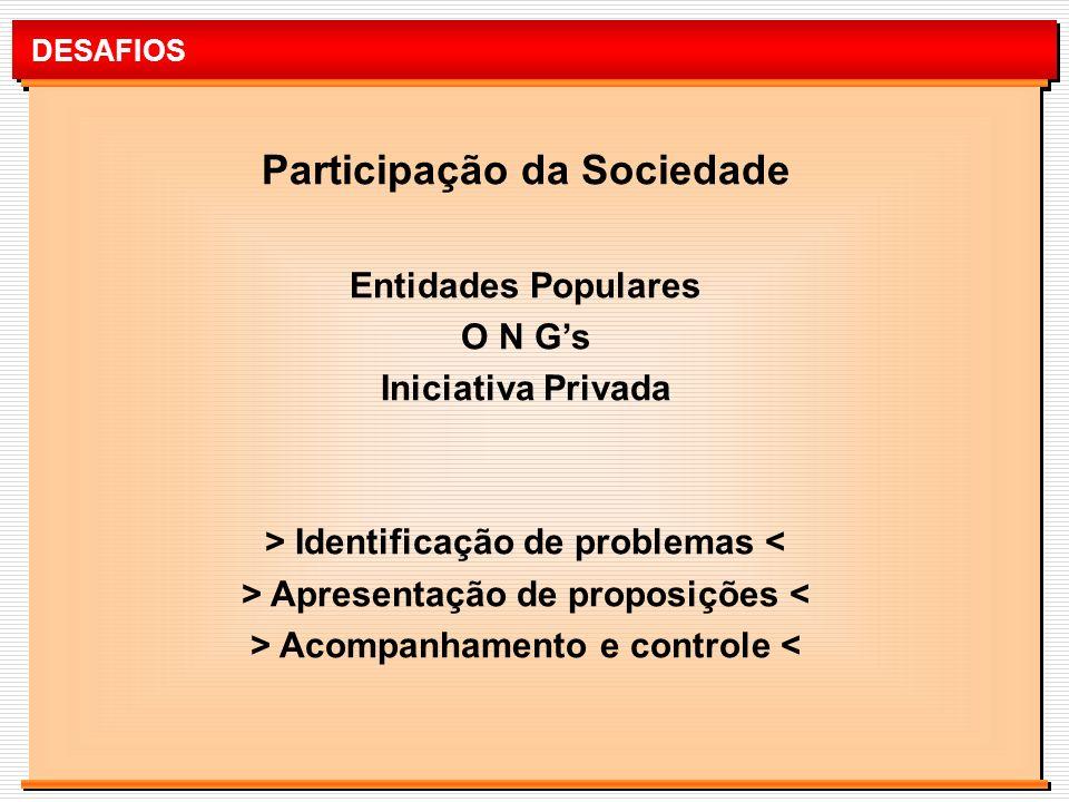 DESAFIOS Participação da Sociedade Entidades Populares O N Gs Iniciativa Privada > Identificação de problemas < > Apresentação de proposições < > Acom