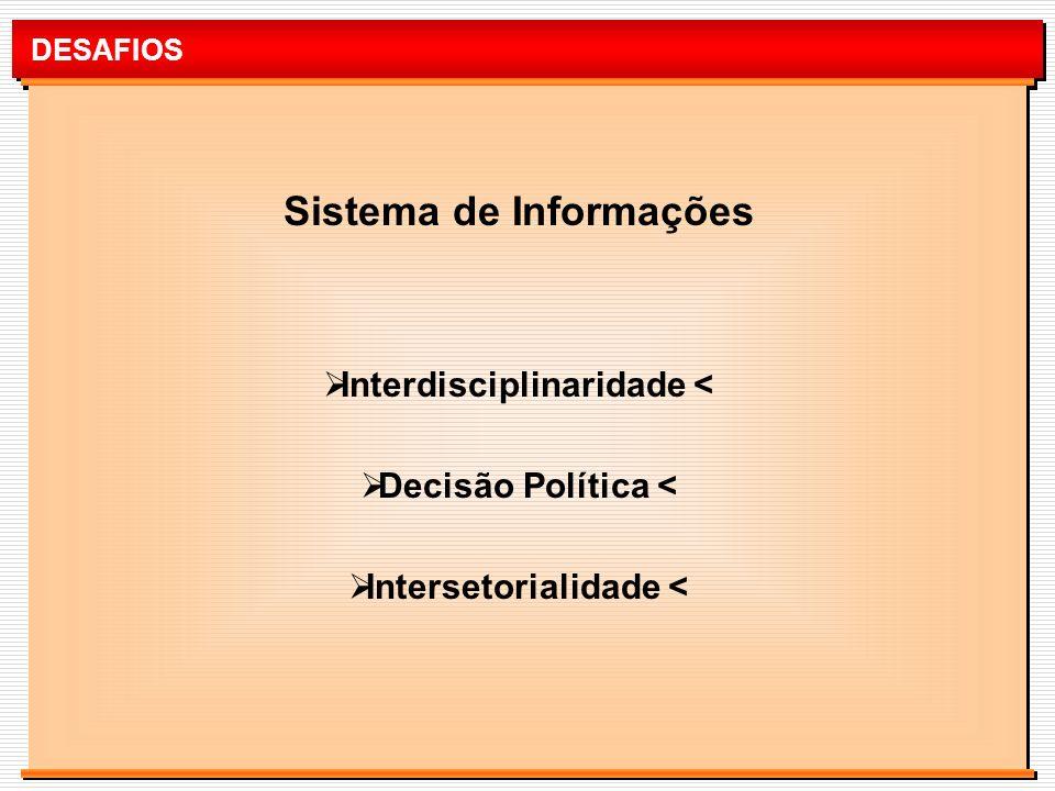 DESAFIOS Sistema de Informações Interdisciplinaridade < Decisão Política < Intersetorialidade <