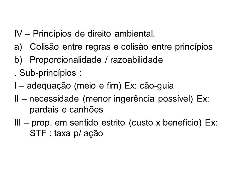 IV – Princípios de direito ambiental. a)Colisão entre regras e colisão entre princípios b)Proporcionalidade / razoabilidade. Sub-princípios : I – adeq