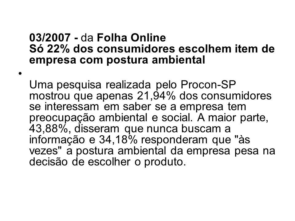 03/2007 - da Folha Online Só 22% dos consumidores escolhem item de empresa com postura ambiental Uma pesquisa realizada pelo Procon-SP mostrou que ape