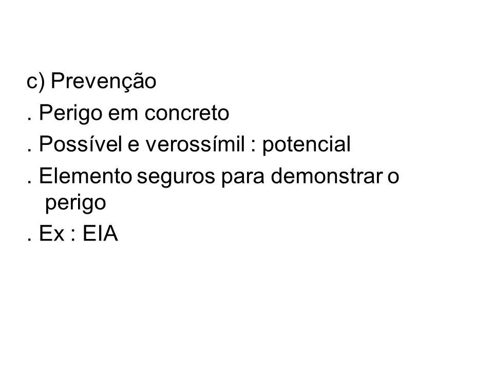 c) Prevenção. Perigo em concreto. Possível e verossímil : potencial. Elemento seguros para demonstrar o perigo. Ex : EIA