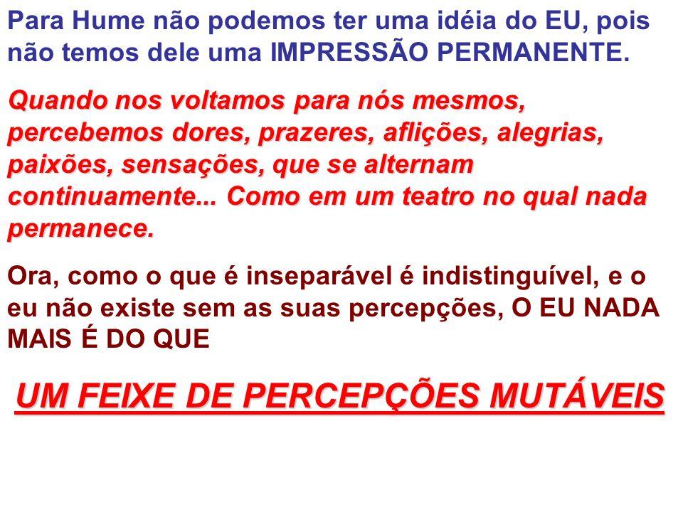 Para Hume não podemos ter uma idéia do EU, pois não temos dele uma IMPRESSÃO PERMANENTE.