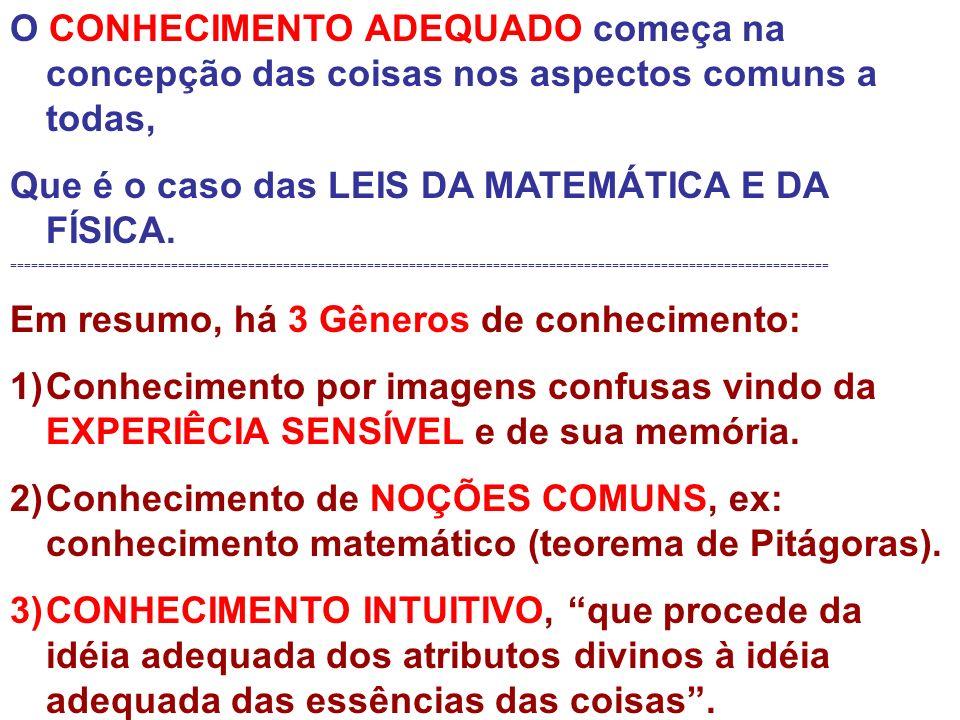 O CONHECIMENTO ADEQUADO começa na concepção das coisas nos aspectos comuns a todas, Que é o caso das LEIS DA MATEMÁTICA E DA FÍSICA. =================