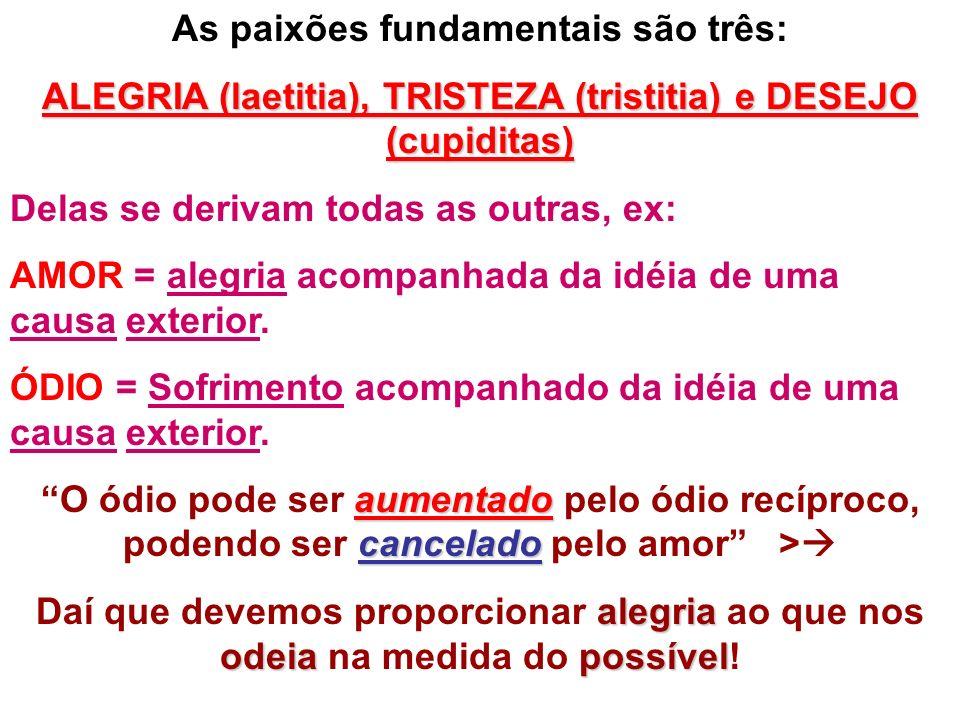 As paixões fundamentais são três: ALEGRIA (laetitia), TRISTEZA (tristitia) e DESEJO (cupiditas) Delas se derivam todas as outras, ex: AMOR = alegria a
