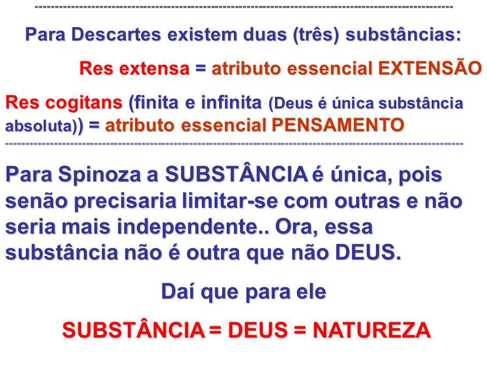 ========================================================================================================= Para Descartes existem duas (três) substânci