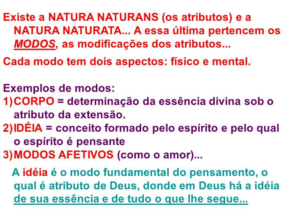 MODOS Existe a NATURA NATURANS (os atributos) e a NATURA NATURATA... A essa última pertencem os MODOS, as modificações dos atributos... Cada modo tem