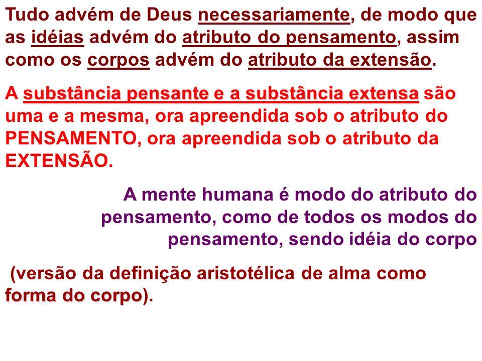 Tudo advém de Deus necessariamente, de modo que as idéias advém do atributo do pensamento, assim como os corpos advém do atributo da extensão. substân
