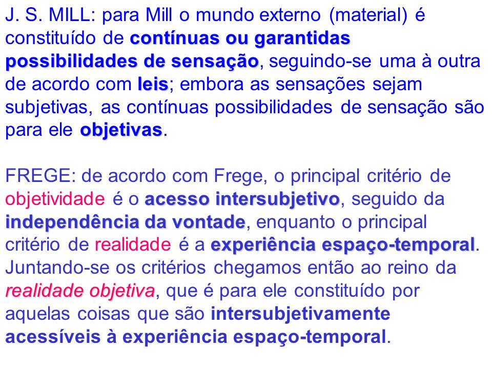 contínuas ou garantidas possibilidades de sensação leis objetivas J. S. MILL: para Mill o mundo externo (material) é constituído de contínuas ou garan