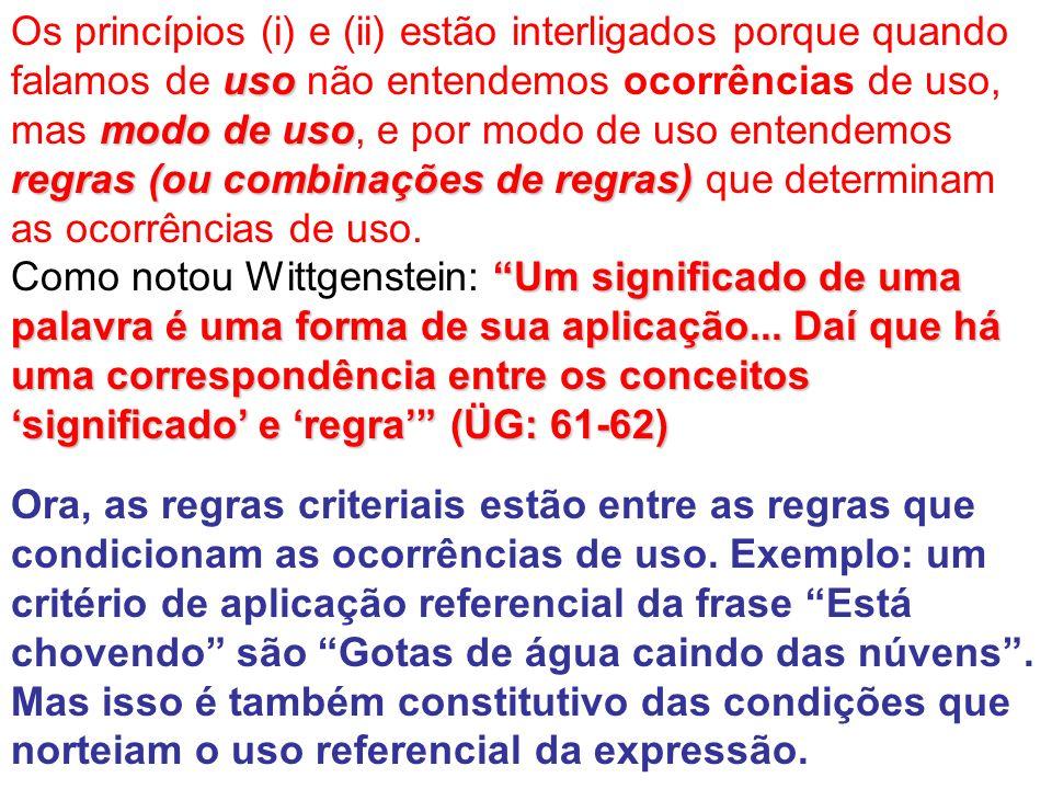 uso mododeuso regras (ou combinações de regras) Os princípios (i) e (ii) estão interligados porque quando falamos de uso não entendemos ocorrências de