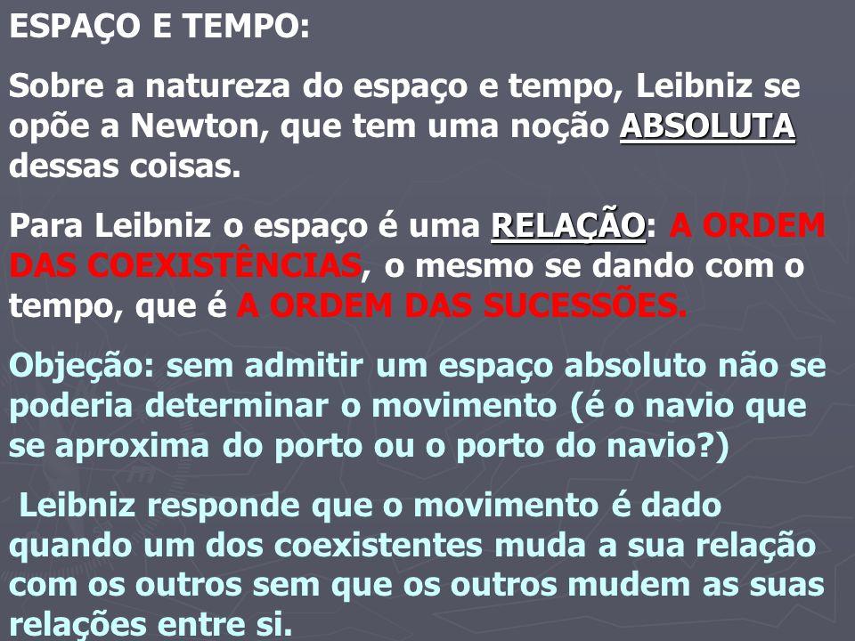 ESPAÇO E TEMPO: ABSOLUTA Sobre a natureza do espaço e tempo, Leibniz se opõe a Newton, que tem uma noção ABSOLUTA dessas coisas. RELAÇÃO Para Leibniz